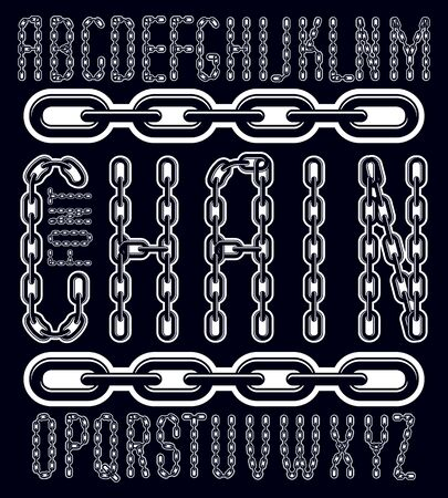Vector condensed, tall font. Trendy typescript can be used in art creation. Capital decorative letters created using connected chain link. Çizim