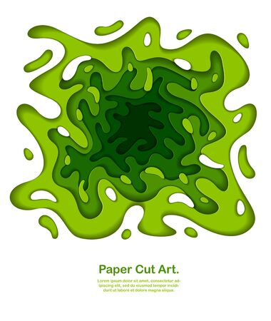3D abstract green background with paper cut shapes. Vector illustration in paper cut style. layout for business card, presentations, flyers or posters.