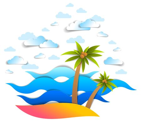 Beach with palms, sea waves perfect seascape, clouds in the sky, summer beach holidays theme paper cut style vector illustration. Illustration