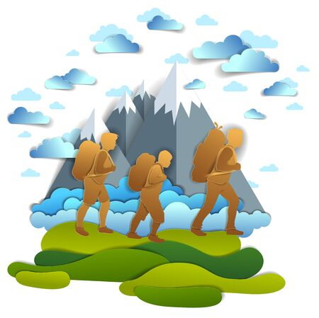Happy active family hiking through grasslands to mountains, peaks and clouds in the summer sky. Father mother and son hikers having time of hobby in nature, summer holidays, vector cartoon.