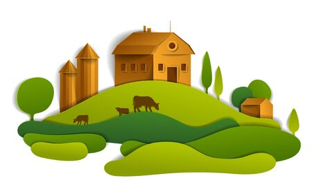 Scenic landscape of farm buildings among meadows and trees, vector illustration of summer time relaxing nature in paper cut style. Countryside beautiful ranch. Иллюстрация