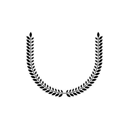 Laurel Wreath floral ancient emblem created in horseshoe shape. Heraldic vector design element. Retro style label, heraldry logo.