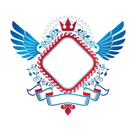 Graphic winged emblem composed with royal crown element, pentagonal stars and luxury ribbon. Heraldic Coat of Arms decorative logo isolated vector illustration.