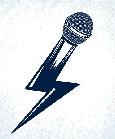 Microphone in a shape of lightning, mic like a bolt, breaking news concept, rap battle rhymes music, karaoke singing or standup comedy, vector logo or illustration.  イラスト・ベクター素材