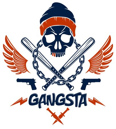 Gangster emblem logo or tattoo with aggressive skull baseball bats and other weapons and design elements, vector, criminal ghetto vintage style, gangster anarchy or mafia theme. Ilustração