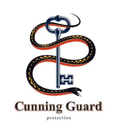 Snake wraps around vintage key, protected secret concept, turnkey and serpent old style tattoo, vector symbol logo or emblem. Foto de archivo - 134804359