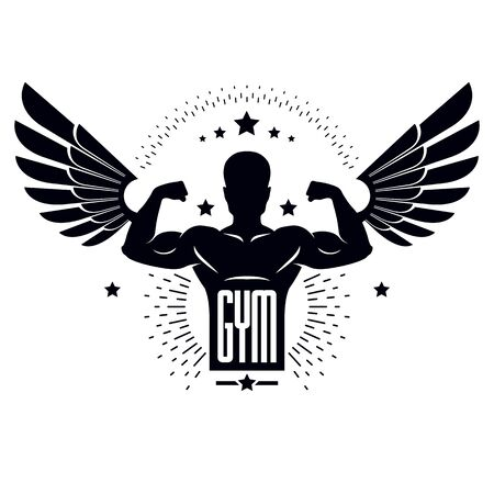Gym and fitness logo template, retro stylized vector emblem or badge with wings. With bodybuilder silhouette.