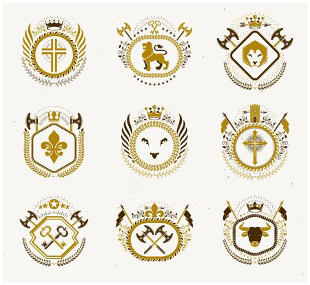 Vector vintage heraldic Coat of Arms designed in award style. Medieval towers, armory, royal crowns, stars and other graphic design elements collection. Foto de archivo - 134804468