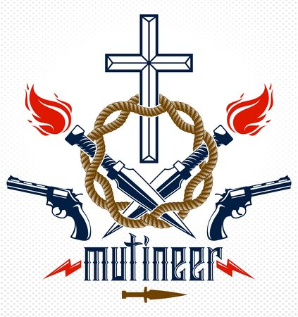 Criminal gangster dramatic emblem or logo with Christian Cross symbolizing death, weapons and different design elements, vector vintage style tattoo, rebel rioter partisan and revolutionary.