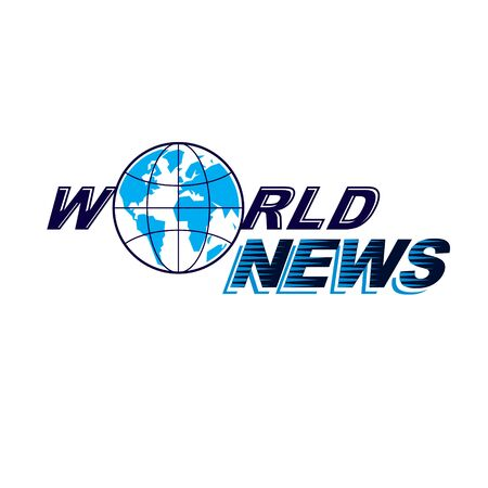 World news conceptual logo, vector globe illustration. Journalism concept.