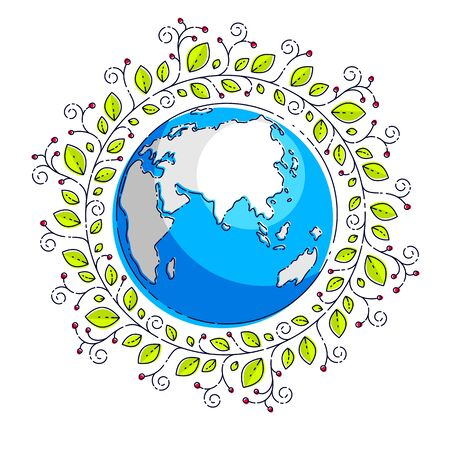 Planet earth with green leaves floral ornate design, vector emblem or illustration isolated on white.