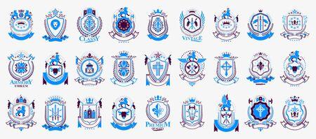 Vintage heraldic emblems vector big set, antique heraldry symbolic badges and awards collection, classic style design elements, family emblems. Foto de archivo - 134804542