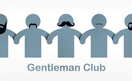 Man day international holiday, gentleman club, male solidarity concept vector illustration icon or greeting card. Stock Illustratie