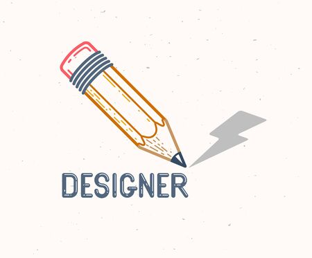 Pencil with lightning bolt vector simple trendy logo or icon for designer or studio, creative energy, bright design, linear style.
