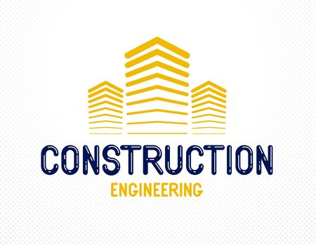Building construction design element vector logo or icon, real estate realty theme, office building.