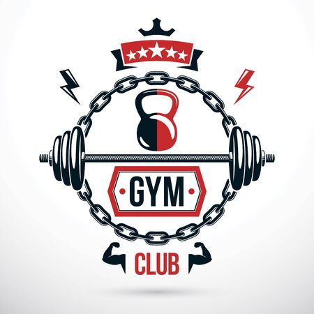 Fitness workout and weightlifting gymnasium vector conceptual emblem, barbell composed using kettle bells and iron chain.