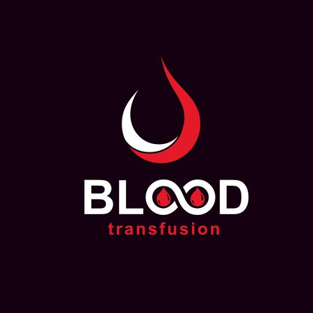 Blood transfusion inscription made with vector infinity symbol and blood drop. Take a concern about human life and health, donate blood conceptual illustration. Standard-Bild - 134804642