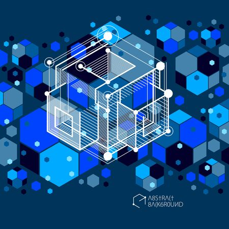 Engineering technology vector dark blue wallpaper made with 3D cubes and lines. Engineering technological wallpaper made with honeycombs. Abstract technical background. Ilustrace