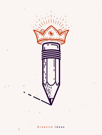 Pencil with crown, vector simple trendy logo or icon for designer or studio, creative king, royal design, linear style.