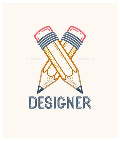 Two crossed pencils vector simple trendy logo or icon for designer or studio, creative competition, designers team, linear style. Illusztráció