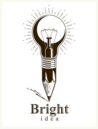 Pencil with idea light bulb combined into symbol, creative energy design art or science invention or research vector logo or icon.