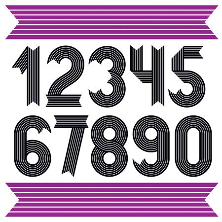 Set of cool stylish vector digits, modern numerals collection. Funky bold numbers from 0 to 9 can be used in poster art. Created using geometric stripes. Çizim