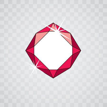 Vector glossy red ruby symbol. Luxury diamond icon, illustration. Иллюстрация