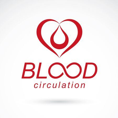 Vector red heart with blood circulation inscription. Medical theme vector graphic symbol. Foto de archivo - 134873914