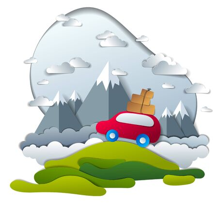 Red car with baggage in scenic nature landscape, mountain range in background, clouds in the sky, paper cut vector illustration of summer holidays travel and tourism, family or friends. Illustration