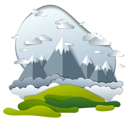 High mountain peaks range scenic landscape of summer with clouds in the sky, paper cut style childish illustration, holidays, travel and tourism theme. Illustration