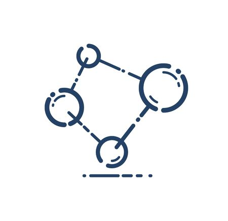 Molecule vector linear icon, science chemistry and physics line art symbol. Ilustracja