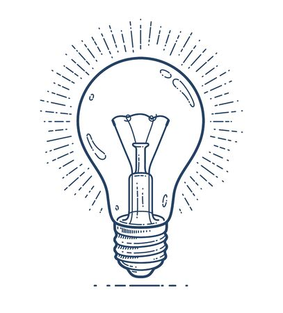 Light bulb idea vector simple linear icon, science and business line art symbol, creative solutions. Ilustracja