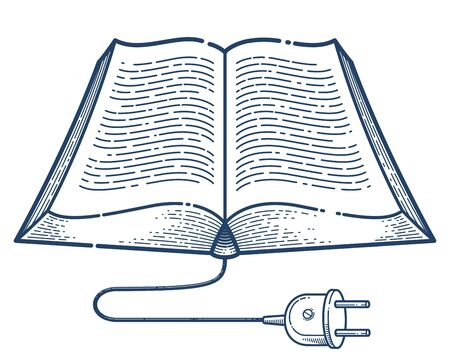 Open book with cable plug vector linear icon, electronic book concept line art symbol or logo, e-book, education and literature reading library.