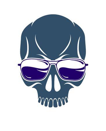 Urban stylish skull vector logo or icon, aggressive criminal scull tattoo, gangster style.