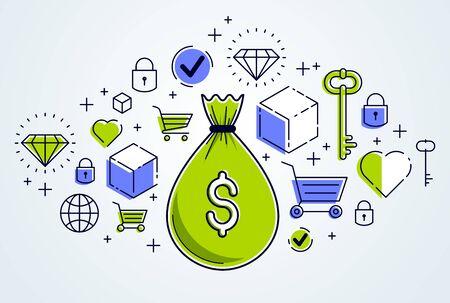 Money bag and icon set vector design, savings or investments concept, online payments, marketplace or shop. Illusztráció