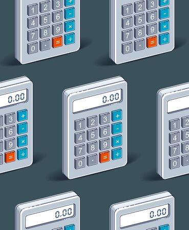 Calculators seamless background, backdrop for taxes or accounting website, vector wallpaper or web site background.