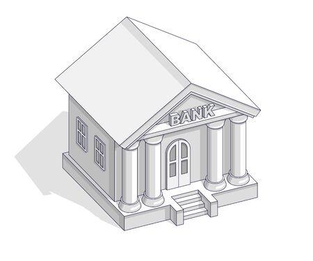 Bank budynku retro vintage architektura kreskówka na białym tle nad białym tłem. Wektor 3d izometryczny biznes i finanse ilustracja, konstrukcja cienka linia.