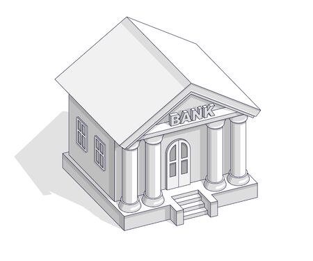 Bankgebäude Retro-Vintage-Architektur-Cartoon isoliert über weißem Hintergrund. Vector isometrische 3D-Geschäfts- und Finanzillustration, dünnes Liniendesign.