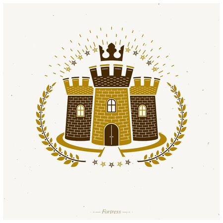 Ancient Fortress emblem. Heraldic Coat of Arms, vintage  . Ornate logotype in old style on isolated white background. 向量圖像