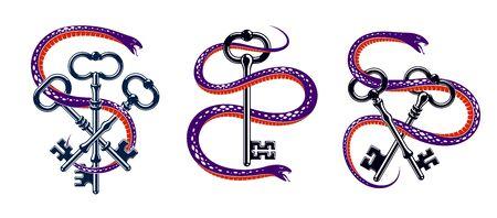 Snake wraps around vintage key, protected secret concept, turnkey and serpent old style tattoo. Illusztráció