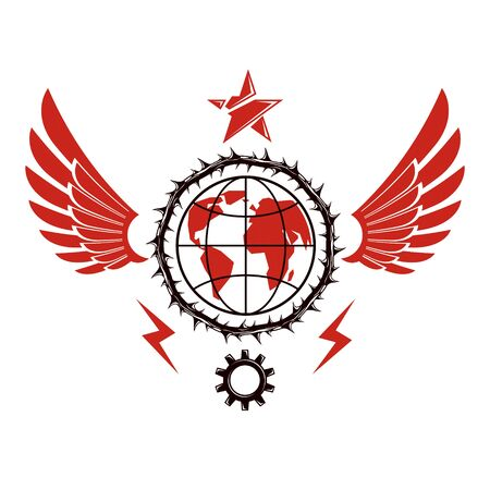Vector emblem composed using Earth globe surrounded with industrial gear and decorated using pentagonal star. Proletarian social revolution abstract symbol, totalitarian utopia. Illusztráció