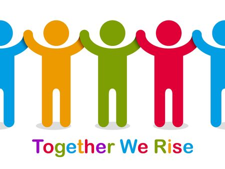 Worldwide people global society concept, different races solidarity, we stand as one, togetherness and friendship allegory