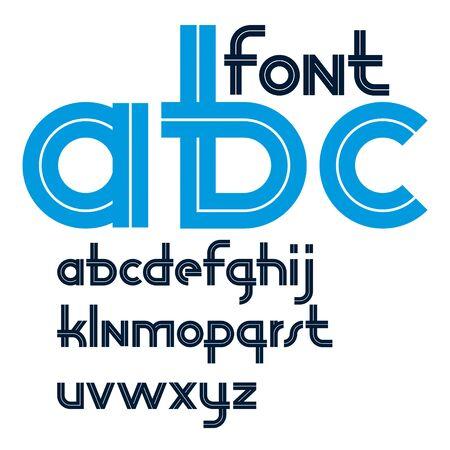 Vector rounded lower case alphabet letters collection with white lines, can be used for logo creation in public relations business.