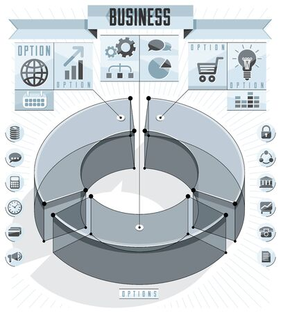 Creative infographics conceptual composition, three sectored 3d circle idea, vector layout illustration. Ilustracja