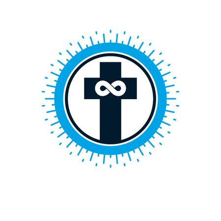 Everlasting Christian Love and True Belief in God vector creative symbol design, combined with infinity endless loop and Christian Cross. Illusztráció
