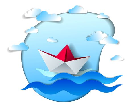 Paper ship swimming in sea waves, origami folded toy boat floating in the ocean with beautiful scenic seascape with clouds in the sky, vector illustration.