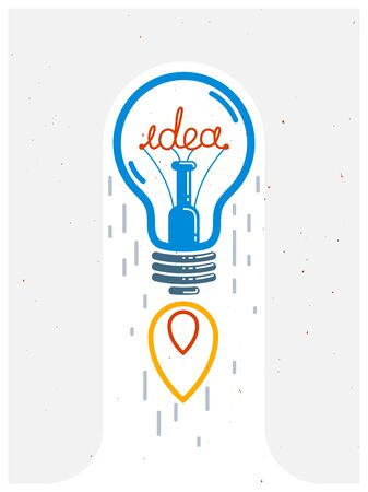 Idea light bulb launching like a rocket vector linear icon, creative idea startup, science invention or research lightbulb, new business start.
