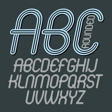 Lettres de l'alphabet capital cool de vecteur, collection abc. Police de caractères arrondis en italique rétro, script de a à z idéal pour la création de logotypes. Créé à l'aide de triples rayures géométriques.