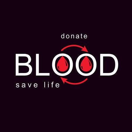 Blood donation vector symbol created with red blood drops and circulation arrows. Volunteer donorship, healthcare and medical treatment conceptual Illustration