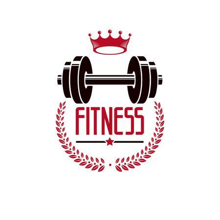 Plantilla de deporte de logotipo de gimnasio de levantamiento de pesas de culturismo, emblema de vector de estilo vintage.